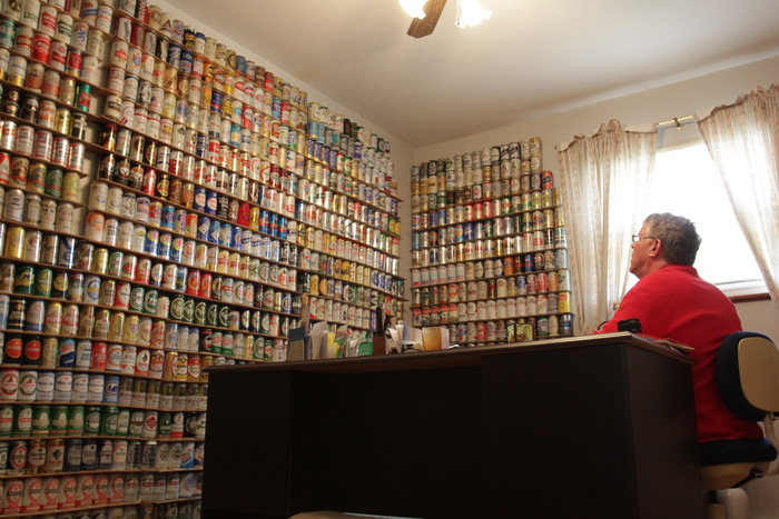 Lance Rice and his rare beer can collection