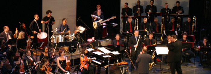 Minas, UArts Big Band, plus 25 strings at the Merriam Theater '04. Below: audio track to the exciting finale to the bossa nova medley, Samba de Orfeu