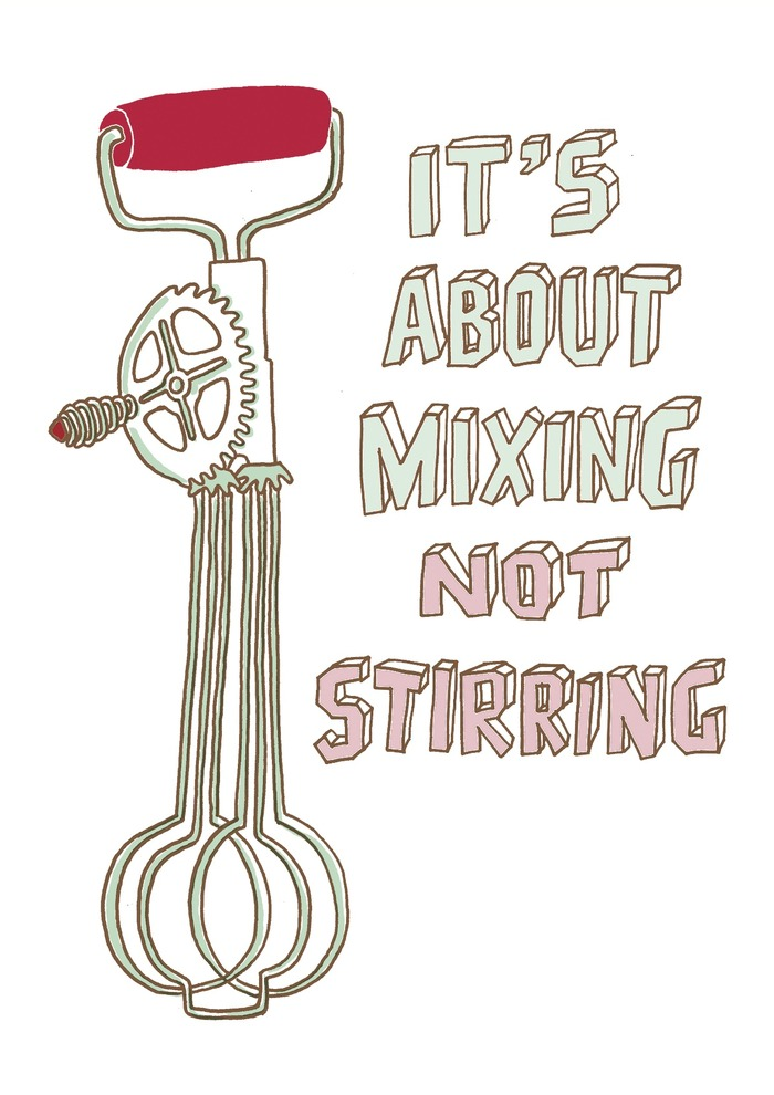 "Mixing Not Stirring by Erica Smith. Digital archival print, 8""x12"", edition of 50."