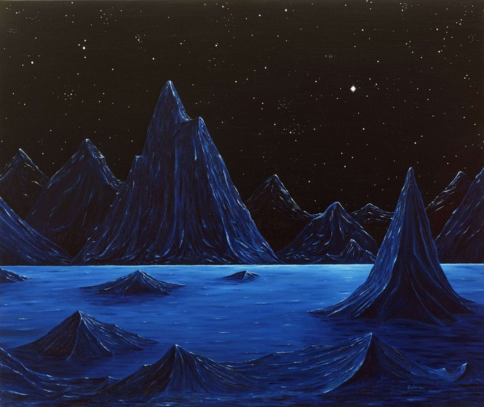 "Ed Belbruno's ""Mountains at Night"" 22 x 24 inches, oil on canvas, 1984."
