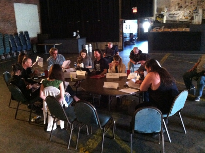 Cast meeting at the Handlebar for first read through.