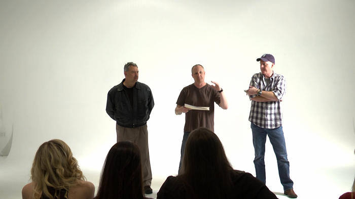 Director, Tim Angevine (middle), addresses the cast.
