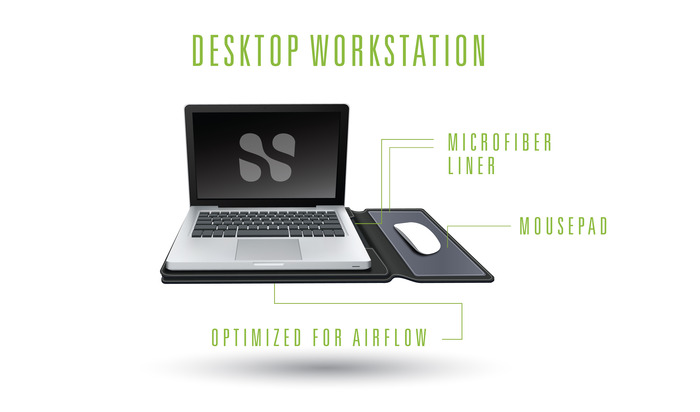 SafeSleeve also provides a desktop workstation that includes a mouse pad and is optimized to allow airflow to your laptop on any surface