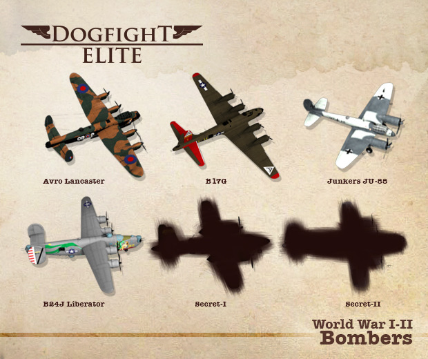 Dogfight Elite bombers already included in the prototype. Contribute to help us announce the secret planes!