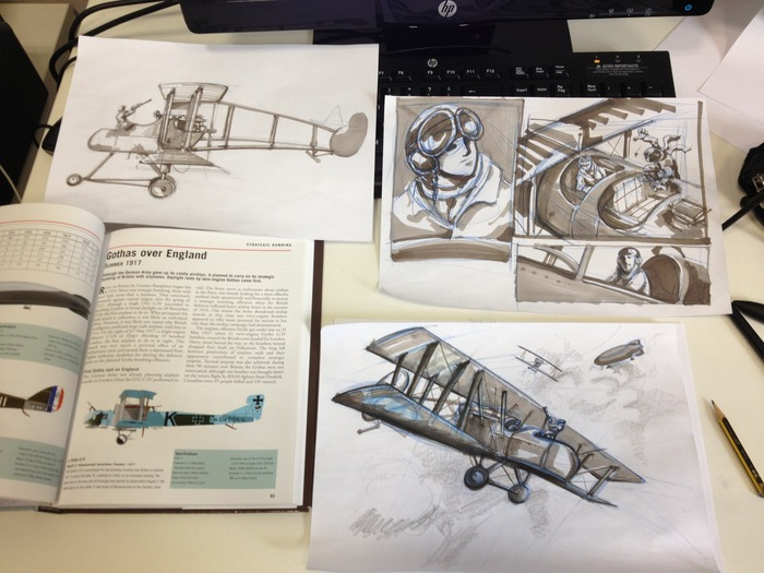 Getting some ideas and putting together some sketches for aircraft to include in the game