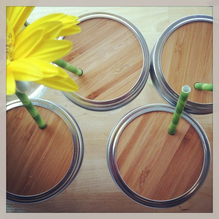 These are the widemouth Mason Jar lids. They come with reusable stainless steel straws.
