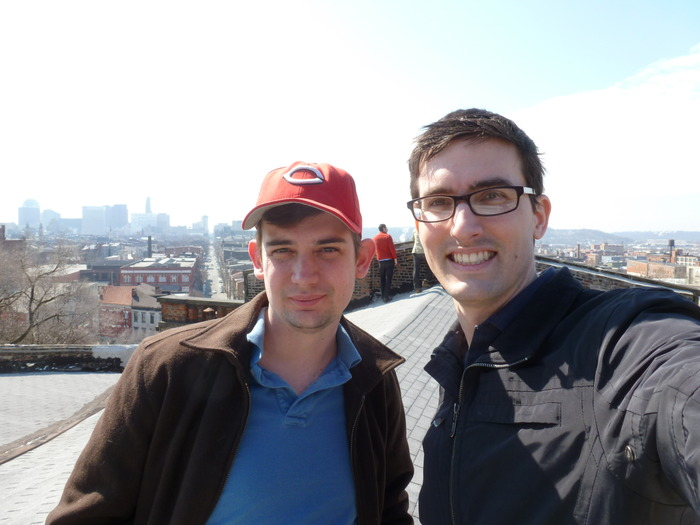 Dominic and Scott checking out the view of Over-The-Rhine and downtown Cincinnati from the roof.