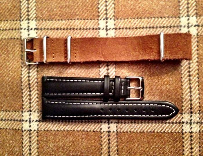 Strap #7: raw leather nato (brown) & Strap #8: black leather with white stitching