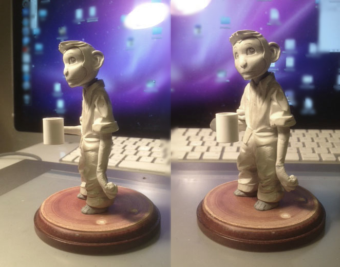 Work-in-progress of Sean Chen's sculpt for the Code Monkey figurine! The final figure will be in color -- and will also have a tail and sculpted feet. ;-)