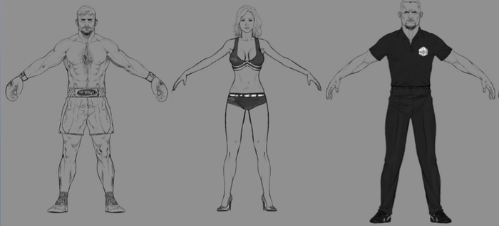 Character Sketches: Boxer, Ring Girl & Referee
