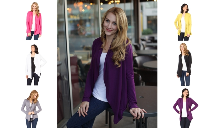 The always elegant SUMMERSKIN Open Cardigan. UPF 50+. Colors: Black, White, Grey, Pink, Plum, Kiwi Green.