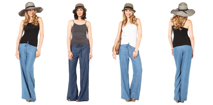 The SUMMERSKIN Tencel Denim Palazzo Pant in 2 washes. UPF 50+.