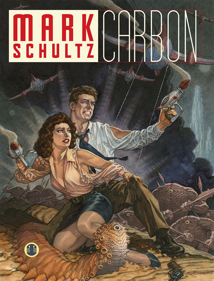 """Mark Schultz: Carbon"" art book cover for the trade paperback and deluxe hardcover."