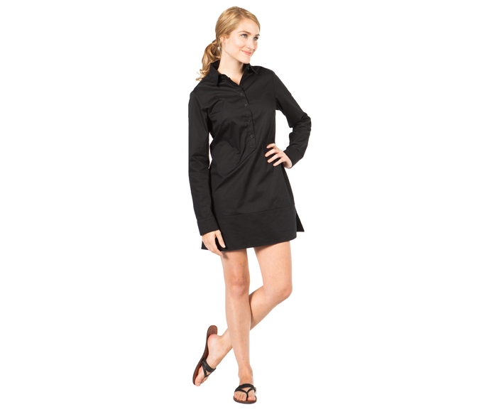 The SUMMERSKIN Half-Button Tunic. UPF 30. Available in Black.
