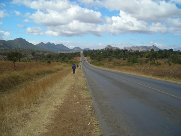 A road into town from a rural Malawian village.