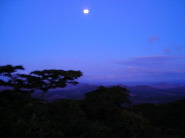 Moonrise over the Peace Corps training facilities.