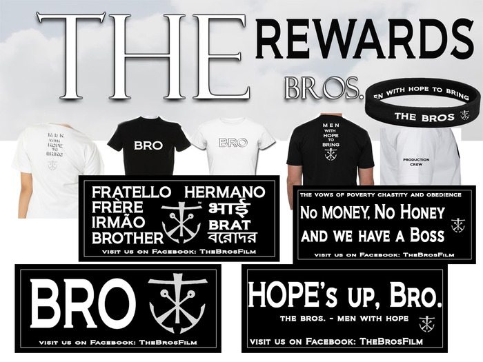 """THE bros"" Wristband, Black and White T-shirt, Stickers"