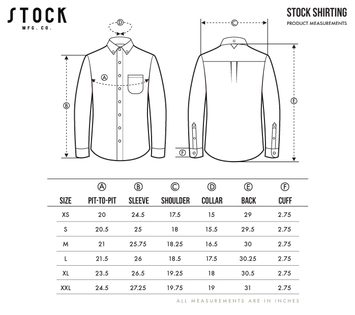 Sizing Guide - Sleeves are measured Shoulder to Cuff