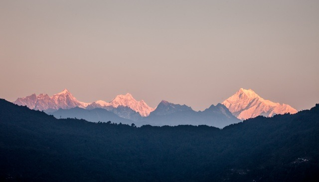 Kangchenjunga mountain range view from Gangtok, Sikkim, India. Photo by Alex Maness