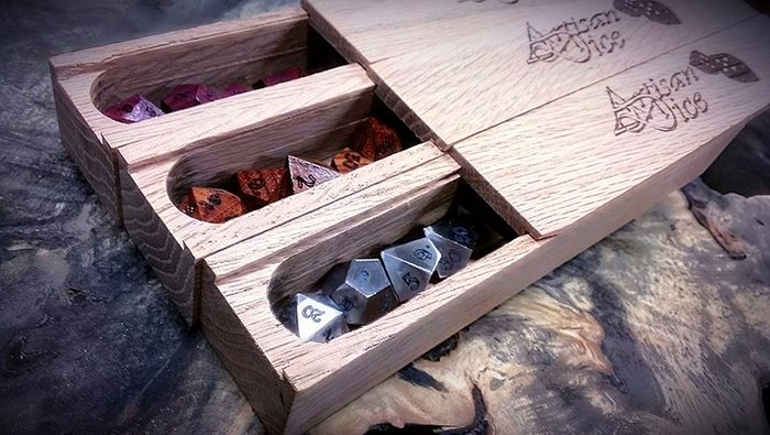 All of our dice sets come in a Solid red Oak dice box at no extra charge.