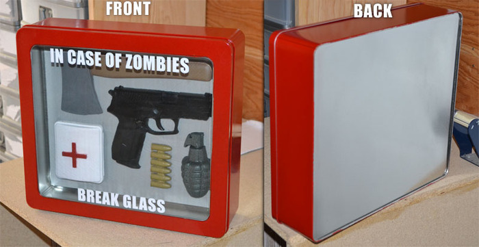 Front And Back Of In Case Of Zombies Break Glass Kit