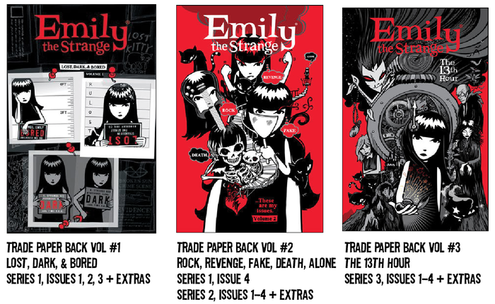 $300 REWARD: ALL Emily the Strange COMIC BOOKS crammed into these nifty collections (includes lots of extras- maybe even your art, kitties, or tattoos!)