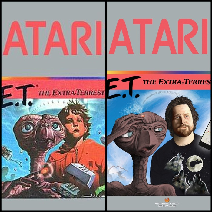 Side-by-side comparison (Original Atari box art vs 30th Anniversary parody box art)