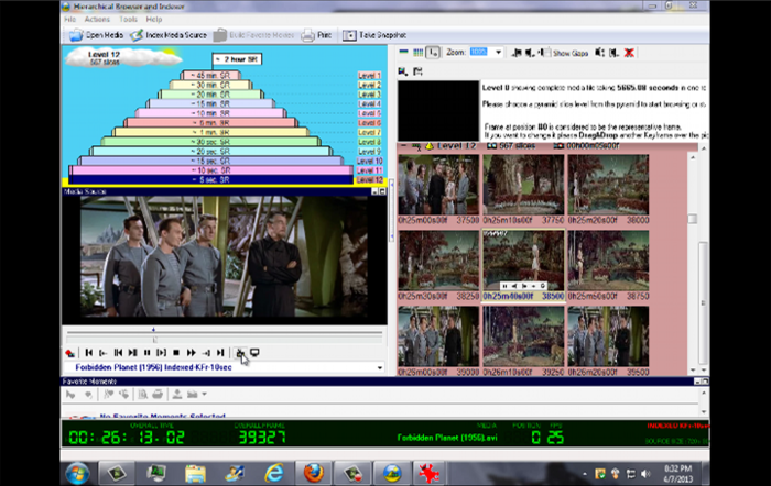 HBrowser in action - showing Key Frame, thumbnail access to a spefic media slice/sequence and full media player including Snapshot-Screen image and full screen playback.