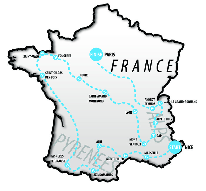 Zoë's 2,000+ miles long run through France will start in Nice on May 18th and finish in Paris on July 20th, 2013.