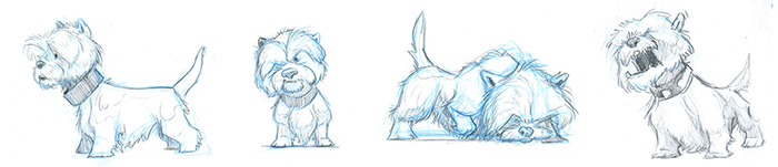Small Dog sketches by Carlos Arancibia