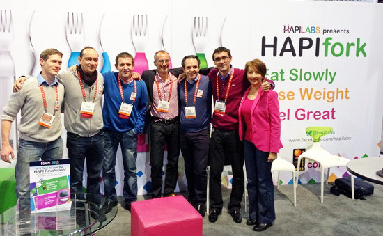 The HAPI Team on HAPILABS booth at CES Las Vegas 2013.
