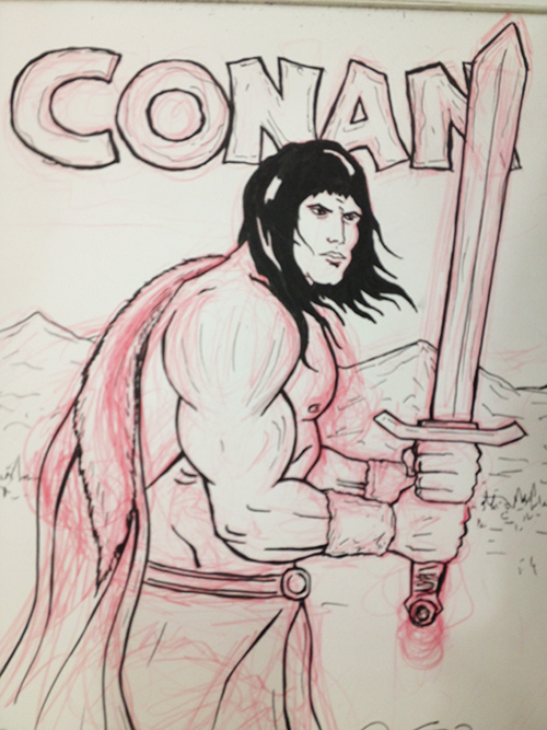 This is a sketch of Conan holding his really big sword... Andy Richter better run.