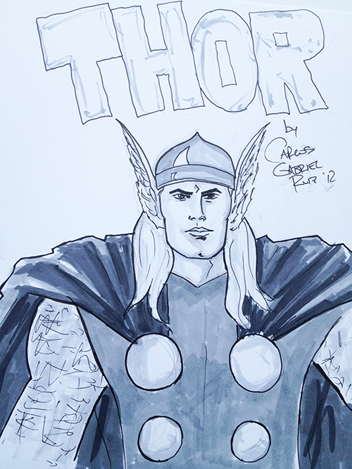 This is a sketch of Thor. He is a god. He likes to make it rain.