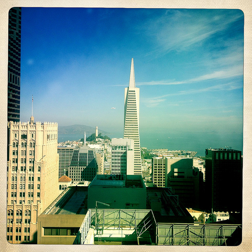 Transamerica Pyramid with Space Shuttle Endeavour