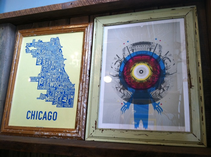 Local handmade screen prints in frames by FoundRe! These two pieces were used as set dressing in the movie and are available in the rewards.