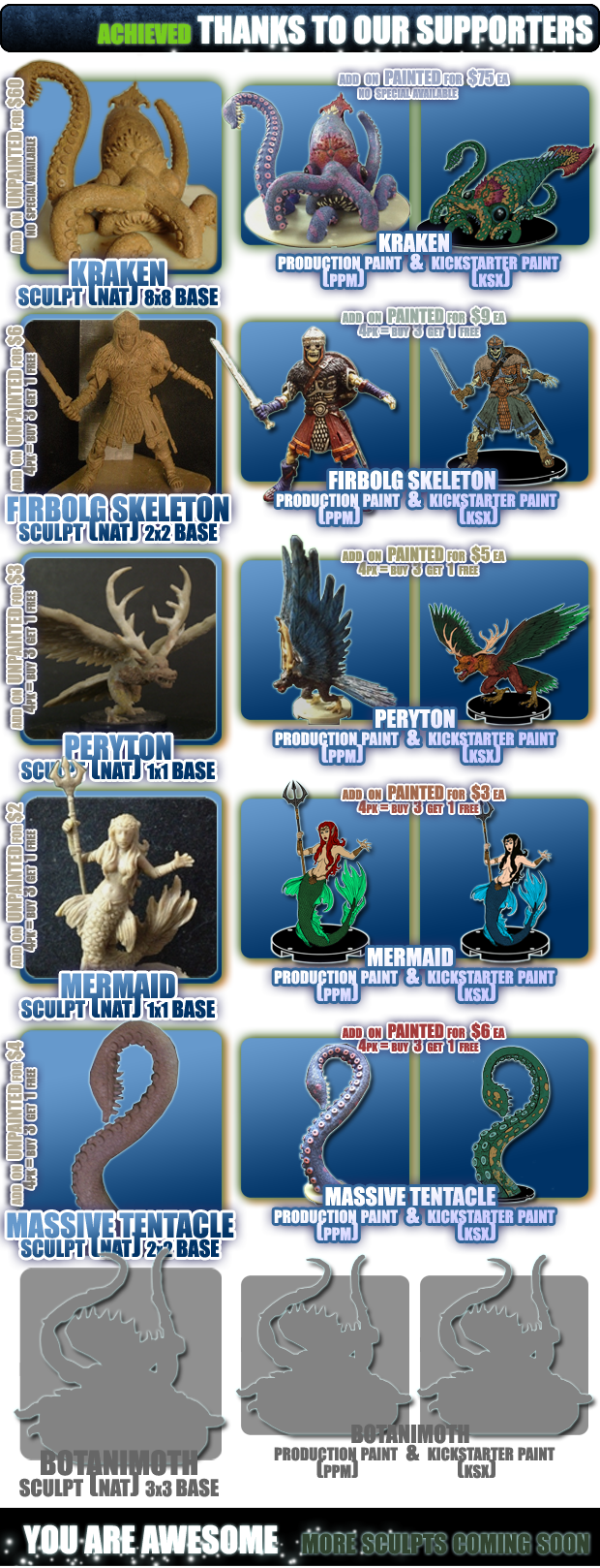 Tags :: Kraken, Firbolg Skeleton, Peryton, Mermaid, Massive Tentacle, Botanimoth, Unpainted, Painted, 4 packs, Available, Funded, Achieved.