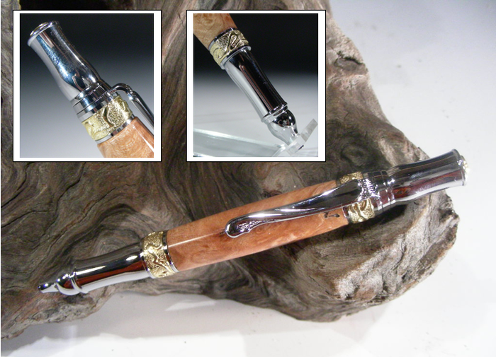 Nouveau Sceptre Pen shown in Big Leaf Maple Burl.
