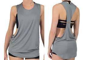 This T features extra wide armholes with longer back to cover rear. Great to layer over a bra top or bandeau.