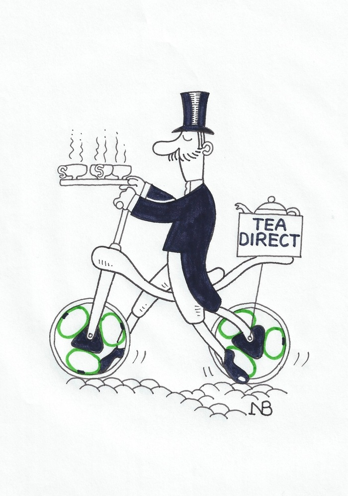 NB's cartoon for our T-shirts: Tea Direct
