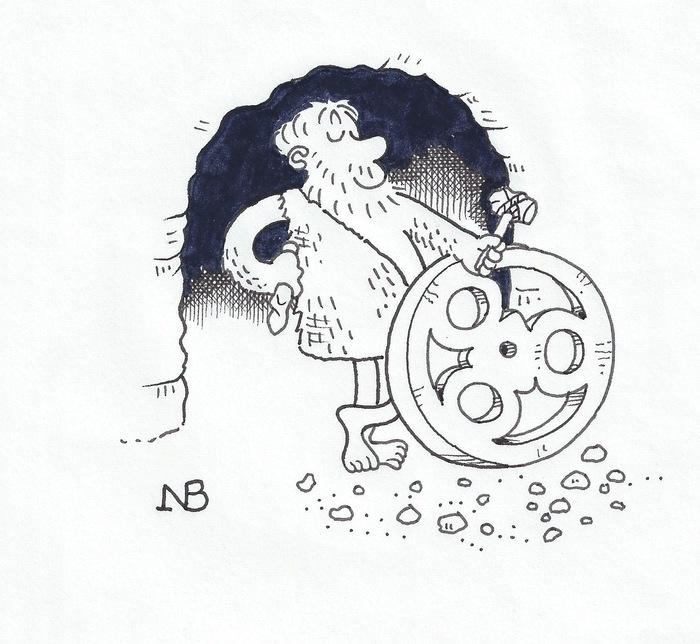 NB's cartoon of a Stone Age Loopwheel - a print of this is an alternative pledge reward