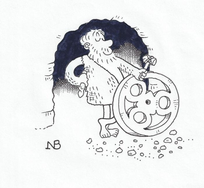 NB's cartoon of a Stone Age Loopwheel - a print of this is an alternative pledge reward