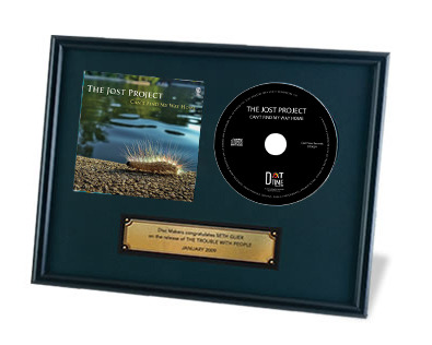 Framed copy of the CD
