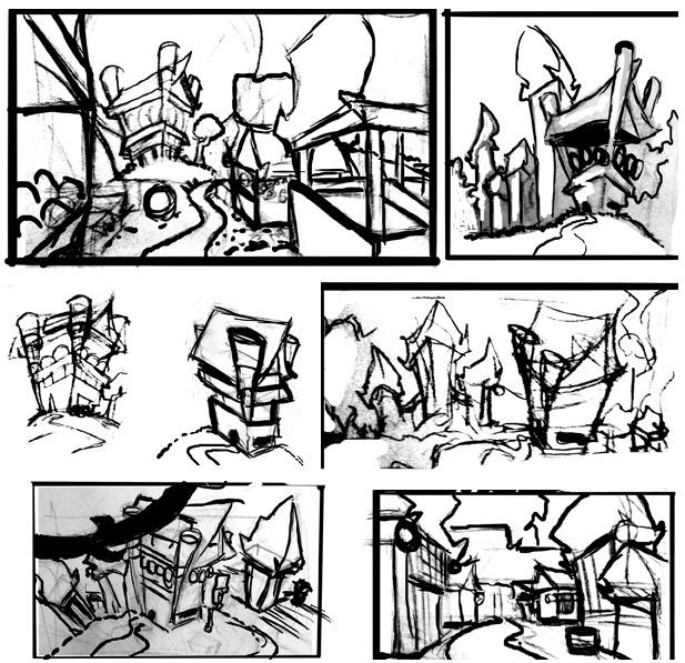"""Fuji Village"" sketches by Sanjit Choudhury"