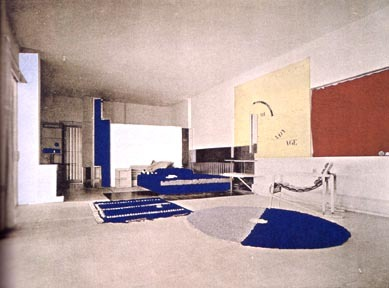 The living area of E1027 (colorized photograph). Gray's interior architecture and design brought a human sensibility to Modernism, with a particular eye for comfort, practicality and sensuality.