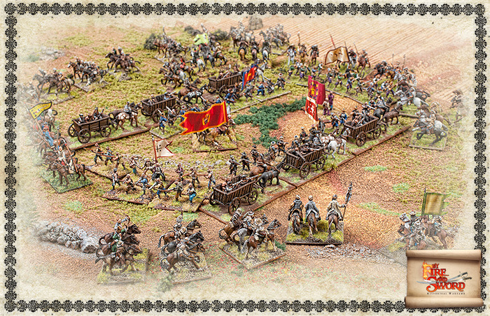 Cossack war wagons attacked by Tartars.