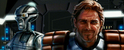 Dash Rendar and his robotic co-pilot LE-BO2D9 (Leebo) [Artist: Jon Knoles]