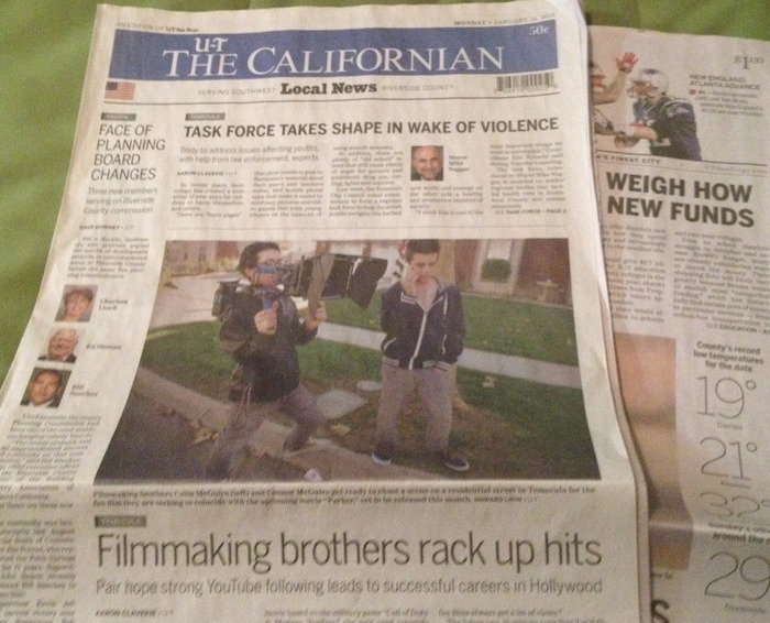 Here we are featured on the the front page of The Californian