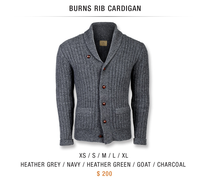 BURNS RIB CARDIGAN: $200