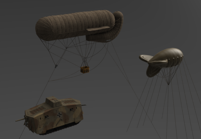 A7V tank and Drachen balloon
