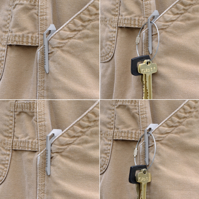 THE CLIP ALLOWS FOR SECURE POCKET CARRY WITH KEYS INSIDE OR OUTSIDE OF POCKET.